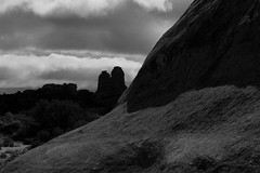 Arches National Park, Utah - IMG_6688 (T. Brian Hager) Tags: archesnationalpark utah texture landscape bw blackwhite digital rock mountains clouds canon canoneos7d