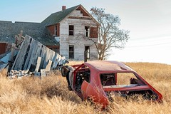 Controlled Crash Landing (garshna) Tags: rusty abandoned javelin amc red homestead sky tree collapsed ruins