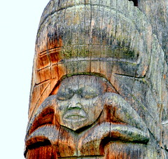 WEST COAST NATIVE ART, CARVED WOOD TOTEMS,  UBC, VANCOUVER. BC. (vermillion$baby) Tags: nativeart art carvng color firstnations red totem westcoast wood artsculpture native pacificnorthwest artofnorthamerica artofnativenorthamerica museum carving sculpture woodcarving museums artofthenative aborigine