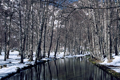 Covão d'Ametade (lebre.jaime) Tags: portugal serra estrela mountainrange range mountain river tree snow reflection