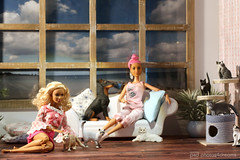 afternoon with the pets (photos4dreams) Tags: dress barbie mattel doll toy photos4dreams p4d photos4dreamz barbies girl play fashion fashionistas outfit kleider mode puppenstube tabletopphotography diorama scenes 16 canoneos5dmark3 schleich cat ooak plastic spielzeug plastik photo katze repaint custom oneofakind upgrade dolldesigner design mainecoon