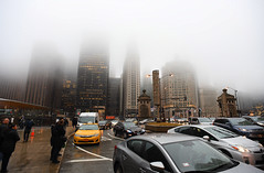 A Fine Foggy Day (Anthony Mark Images) Tags: fog bridge chicago skyscrapers illinois usa cars taxi people rain reflections wetpavement wetsidewalks nikon d850
