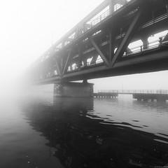 the bridge (andreasbrink) Tags: autumn italy bw sestocalende morningmist fog blackandwhite zeissmilvus bridge ironbridge