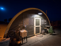 Bugout (Nocturnal Bob) Tags: quonset hut abandoned airfield ca california hose screen door sink mat moon longexpsoure sony a7r laowa 15mm f2 zerod