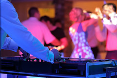 Dancing couples during party or wedding celebration (DJ Climactic) Tags: wedding dj party gig microphone background celebration music dance reception event happy white women marriage groom blur beauty people band male love happiness dinner romantic dress couple ceremony wife lights nightclub young decoration equipment instrument keyboard design space copy empty text place inscription poland