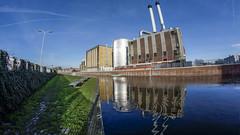Energy plant (TGr_79) Tags: tram water building sky gtl htm reflection fisheye holland netherlands city