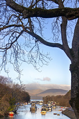 Looking up the River Leven to Loch Lomond (Joe Son of the Rock) Tags: ben mountain beinn river leven riverleven boat tree loch lochlomond balloch lowlands highlands island