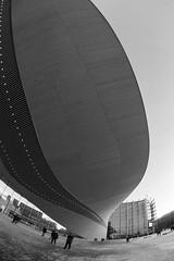 Oodi (Antti Tassberg) Tags: kirjasto arkkitehtuuri 15mm fisheye bw oodi kaupunki helsinki suomi rakennus architecture blackandwhite building city cityscape finland library monochrome prime scandinavia urban