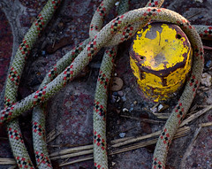 Slither (S2TDD) Tags: yellow rust rope slither slink tether woven iron canal barge