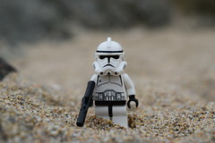A lone Clone Trooper. (Working hard for high quality.) Tags: wars star lego sand planet trooper clone soldier republic galactic