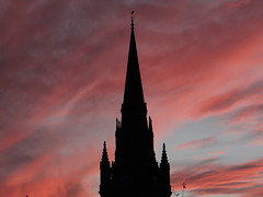 Sunday Night Sky (Ian Robin Jackson) Tags: orange blue scotland aberdeen nightsky aberdeenshire zeiss tower spire church clouds
