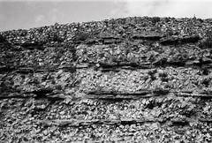 Roman wall, Silchester (a.pierre4840) Tags: olympus xa 35mm f28 35mmfilm ilford ilfordhp5 hp5 hp5plus bw blackandwhite monochrome noiretblanc wall roman silchester hampshire england stone flint texture