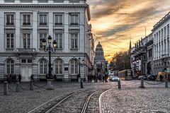 Place Royale (cedant1) Tags: brussels bruxelles bruxellesmabelle montdesarts bluehour sunset justice rails hdr