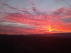 Colorful sunset with sun pillar (Menyhert) Tags: sunset redsunset altocumulus pillar sunpillar holland netherlands sky cloud clouds optics atmosphere weather