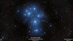 Pleiades_M45_Dec2018_HomCavObservatory_ReSizedDown2HD (homcavobservatory) Tags: homcav observatory pleiades m45 open star cluster reflection nebula taurus orion ed80t cf 80mm f6 carbonfiber apochromatic refractor televue 08 x field flatteer focal reducer canon 700d t5i dslr losmandy g11 mount shorttube guidescope asi290mc autoguider phd2 astronomy astrophotography