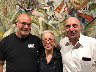 Artists Joe Nicastri and  Janet Slom with Arthur Dunkelman at the LnS Gallery opening