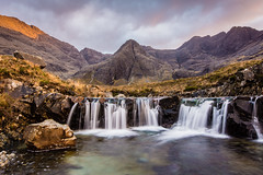 Sunset at the Fairy Pools #1, Glen Brittle, Isle of Skye, Scotland (Anthony Lawlor) Tags: scotland scottish highlands uk unitedkingdom river waterfall pool fairy wideangle sky sunset colour running alltcoiramhadaidh blue green swimmers landscape photography clouds skye isle slowshutterspeed