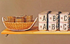 On the shelf (tmattioni) Tags: anthropologie shelf mugs coasters texture abc's christian brian alan