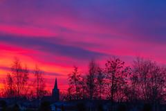 Red sky (jan.vd.wolf) Tags: skyline sky netherlands hoogland kerk zonsopgang amersfoort utrecht nederland nl sunrice red redsky church