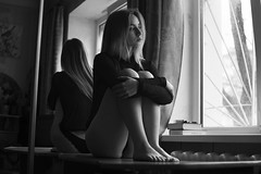 Slightly nude (vlkvaph) Tags: nudity face model portrait female woman cinematography cinematic melancholic melancholy atmospheric atmosphere mood sad girl photography canon6d canon monochrome bw blackwhite black nakedwoman naked nude sensual
