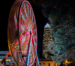 Uptown Color Wheel (stevem19) Tags: nightphotography nikon charlottenc charlottecentercity d750 2470mmf28 night ferriswheelatnight lights