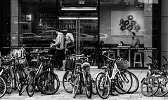 Coffee Rush?  (3 of 3) (+Pattycake+) Tags: dmcgm1 cambridgeuk coffeerush panasonic 9nov18 bicycles street people lumix blackandwhite bikes bw coffeeshop autumn bikerack road shop bike city outdoor monochrome