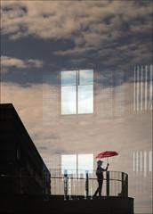 F_MG_1031-2-Canon 6DII-Tamron 28-300mm-May Lee 廖藹淳 (May-margy) Tags: maymargy 人像 剪影 紅 雨傘 欄杆 建築 藍天 白雲 玻璃 反射 窗戶 街拍 線條造型與光影 天馬行空鏡頭的異想世界 心象意象與影像 幾何構圖 點人 台灣攝影師 基隆市 台灣 中華民國 fmg10312 portrait silhouette backlighting 逆光 red umbrella glass rail architecture sky clouds reflection keelungcity taiwan repofchina canon6dii tamron28300mm maylee廖藹淳 taiwanphotographer humaningeometry humanelement streetviewphotography linesformandlightandshadow mylensandmyimagination naturalcoincidencethrumylens windows