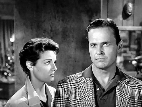 """9c2ffebc7e Jane Russell and Ralph Meeker in """"The Fuzzy Pink Nightgown"""" (1957)."""