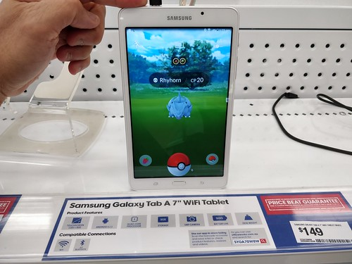 Catching Rhyhorn, very laggy - Pokemon Go - Samsung Galaxy Tab A 7-inch AUD149 at Officeworks