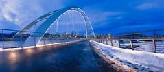 Winter City. (Dallas R) Tags: architecture travel discover bluehour night cityscape canada wideangle winter bridge cold panoramic canon landscape alberta edmonton