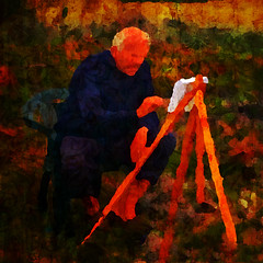 the painter (II) (j.p.yef) Tags: peterfey jpyef yef people man painter digitalart photomanipulation red square outside nature jürgen bestportraitsaoi