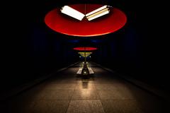 Mood Lighting (Sean Batten) Tags: munich bavaria germany de nikon d800 1424 ubahn metro subway underground light shadow red yellow city urban europe westfriedhof
