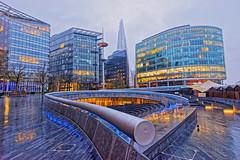 The Scoop (Croydon Clicker) Tags: wet cold rain amphitheatre railing paving walkway building architecture shard windows lights reflection london blue