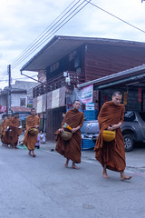 Almsgiving to the monks (Ralph Apeldoorn) Tags: almsgiving monk offering chiangkhan changwatloei thailand th