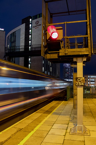 Dynamic lines: High Speed Train leaving Cardiff Central station, Wales, UK