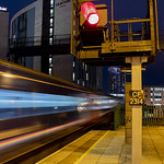 Dynamic lines: High Speed Train leaving Cardiff Central station, Wales, UK thumbnail