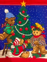 Teddy Bear Christmas (Mr. Happy Face - Peace :)) Tags: art cloth sewing craft christmas book red tree ornaments love funpic texture patricia library songbook wtbw