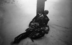 Cold so cold (Sonofsono) Tags: film skeleton black bw white snow winter gas mask frozen graflex speedgraphic fomapan