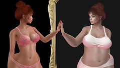 Well you look like yourself. (SL : FatNnerdy ♥Model for Hire♥) Tags: look like yourself flora cash sad mirror sexy fat lingerie bra panties