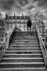 Stairway to hell (Photographette76) Tags: paris nb noiretblanc blackandwhite bw town ville rue street streetphotography photoderue photographiederue escalier stairs pont bridge silhouette ciel sky nuages nuageux clouds cloudy immeubles buidings graffiti
