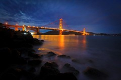 The Holiday Glow (Andrew Louie Photography) Tags: 2018 christmas happy san merry francisco golden gate bridge america usa california andrew louie fort point moon set morning photography landscape bay area holiday peace passion jazz coffee long exposure colors blue