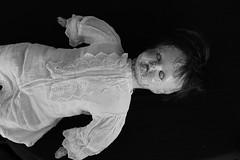 Pleasant dreams... (Twila1313) Tags: creepydoll doll olddoll whiteeyes closedeyes sleep nightmare floating monochrome blackandwhite blackwhite bw spooky odd bizarre sonya7ii minoltamd50mmf2