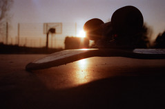 Sunset Skate (Ale Rub) Tags: skateboarding sunset summer lifestyle guben 35mm negativescan mz50