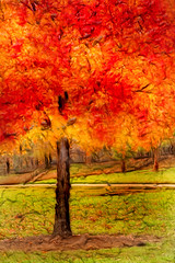 Artistic Autumn Orange 6-0 F LR 11-8-18 J053 (sunspotimages) Tags: tree trees forest autumn fall autumntree autumntrees autumnforest falltree falltrees fallforest artistic digitalmanipulation artwork nature impressionistic fractalius emboss impressionism