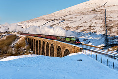 The double-headed Winter Cumbrian Mountain Express, Arten Gill Viaduct, Dentdale, 02/02/19 (John / Arc-Images) Tags: winter cumbrian mountain express steam train double headed arten gill viaduct dentdale settle carlisle railway line mayflower 61306 35018 british india