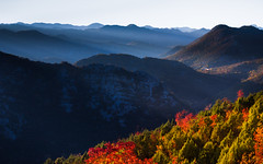 Montenegrin mountainscape (snowyturner) Tags: montenegro mountains autumn colours leaves layers trees light shafts evening balkans