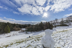 Snow!!! Mr Snowman enjoying the view - Explore 4 2.19 (Jo Evans1) Tags: snow brecon reservoir blue skies beautiful excited snowman