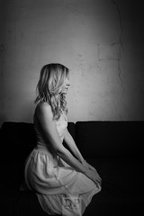 Thoughts (Daniele Pauletto) Tags: beauty girl blonde legs dress thoughts blackandwhite