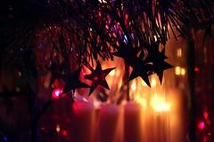 Christmas is coming (Heaven`s Gate (John)) Tags: christmas lights stars tinsel pink tree december season night dark johndalkin heavensgatejohn blur decorations atmosphere 10faves 25faves