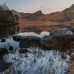 The Crystal Lake (Andrew G Robertson) Tags: lake district blea tarn sunset reflection ice little langdale cumbria winter